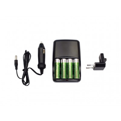 Impact - AC & Kfz-Ladegerät + 4 x AA Akku-Batterien